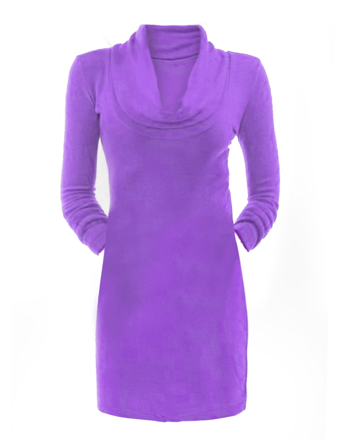 Women Long Sleeves Cowl Neck Leisure Pencil Dress Purple XL
