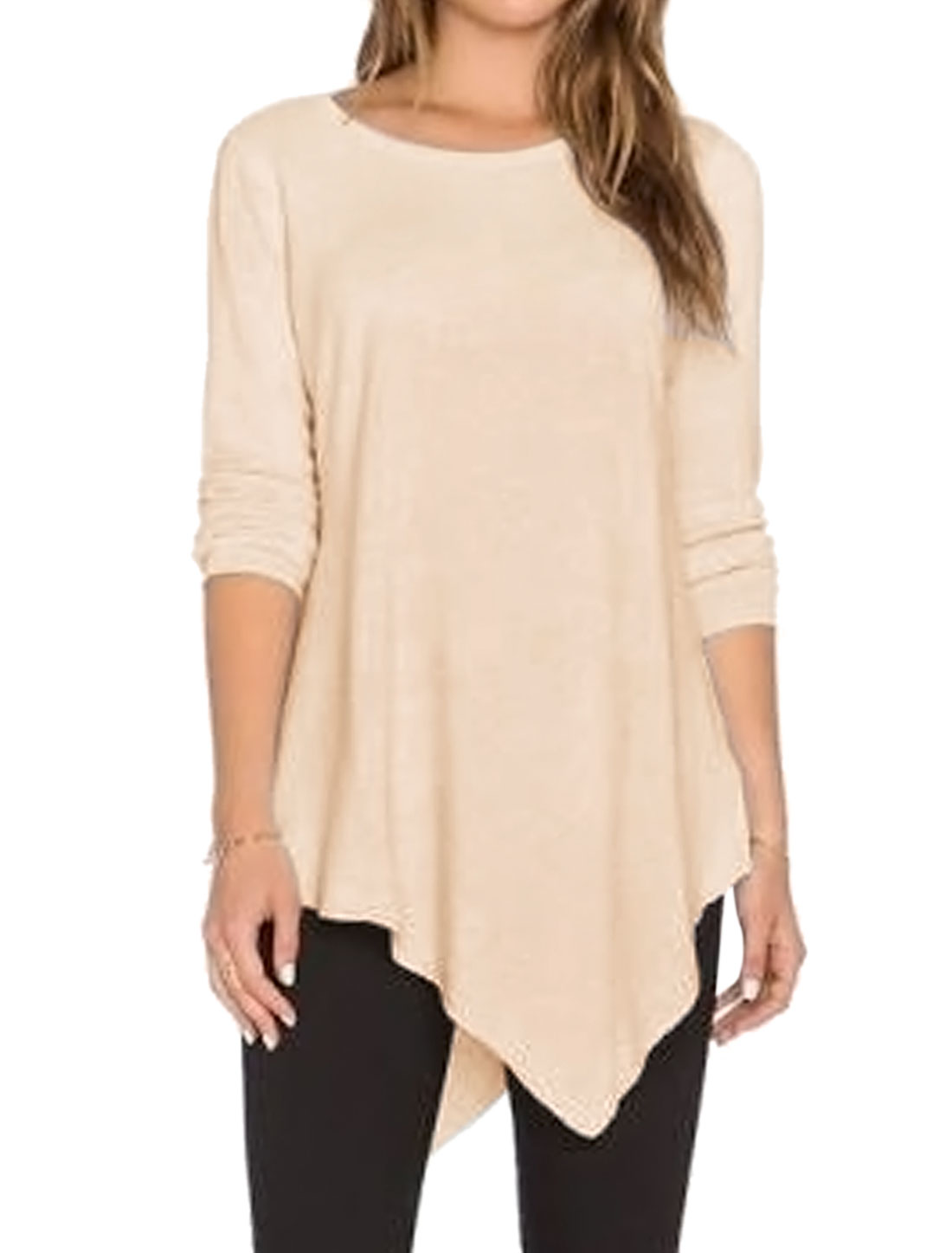 Women Round Neck Long Sleeves Casual Irregular Hem Loose Tunic Top Beige M