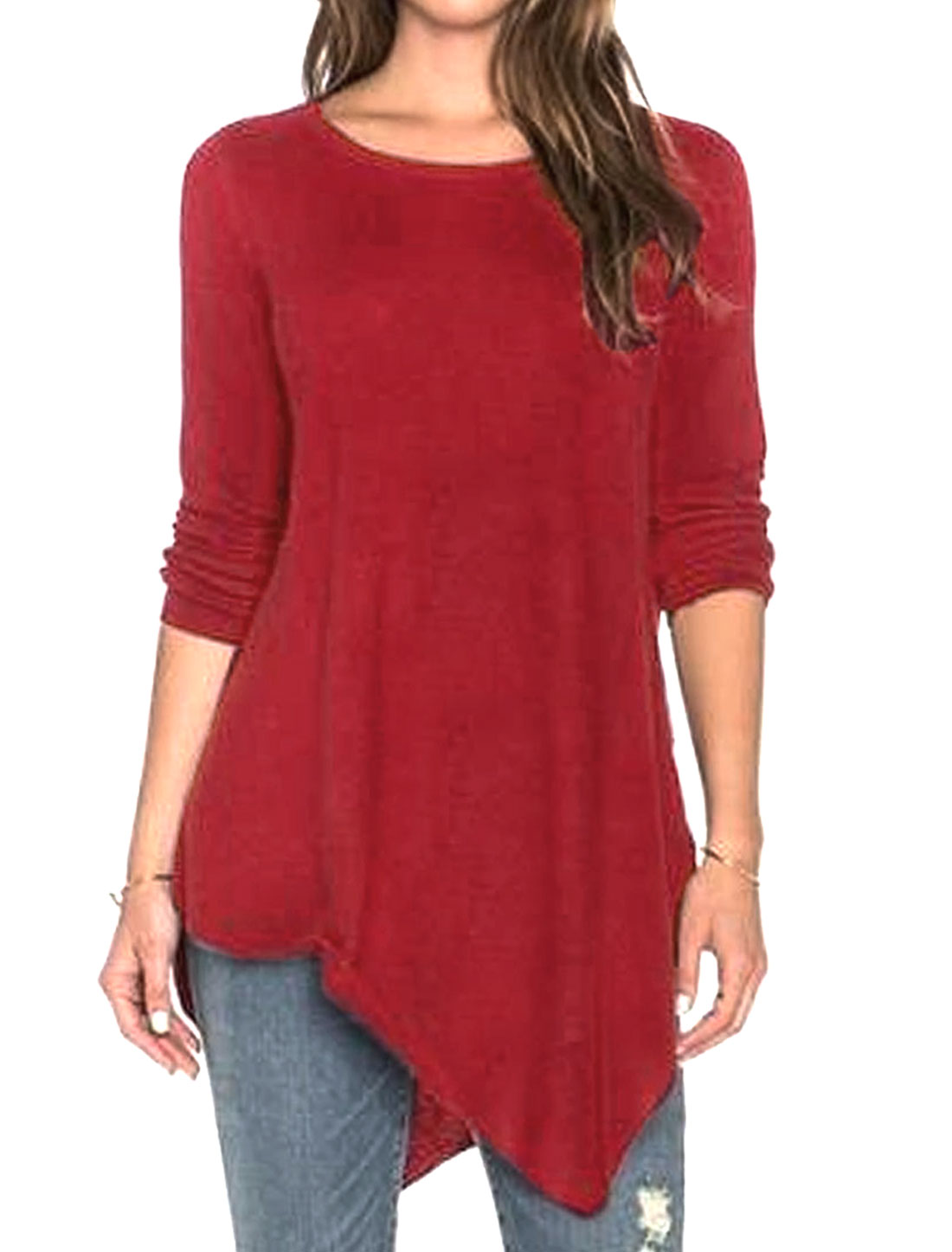 Ladies Round Neck Long Sleeves Asymmetric Hem Loose Tunic T-Shirt Red M