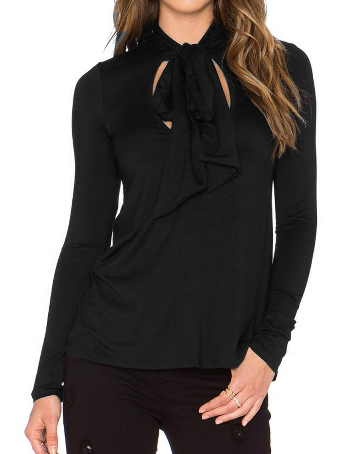 Ladies Scoop Neck Self Tie Front Design Long Sleeves Top Black M