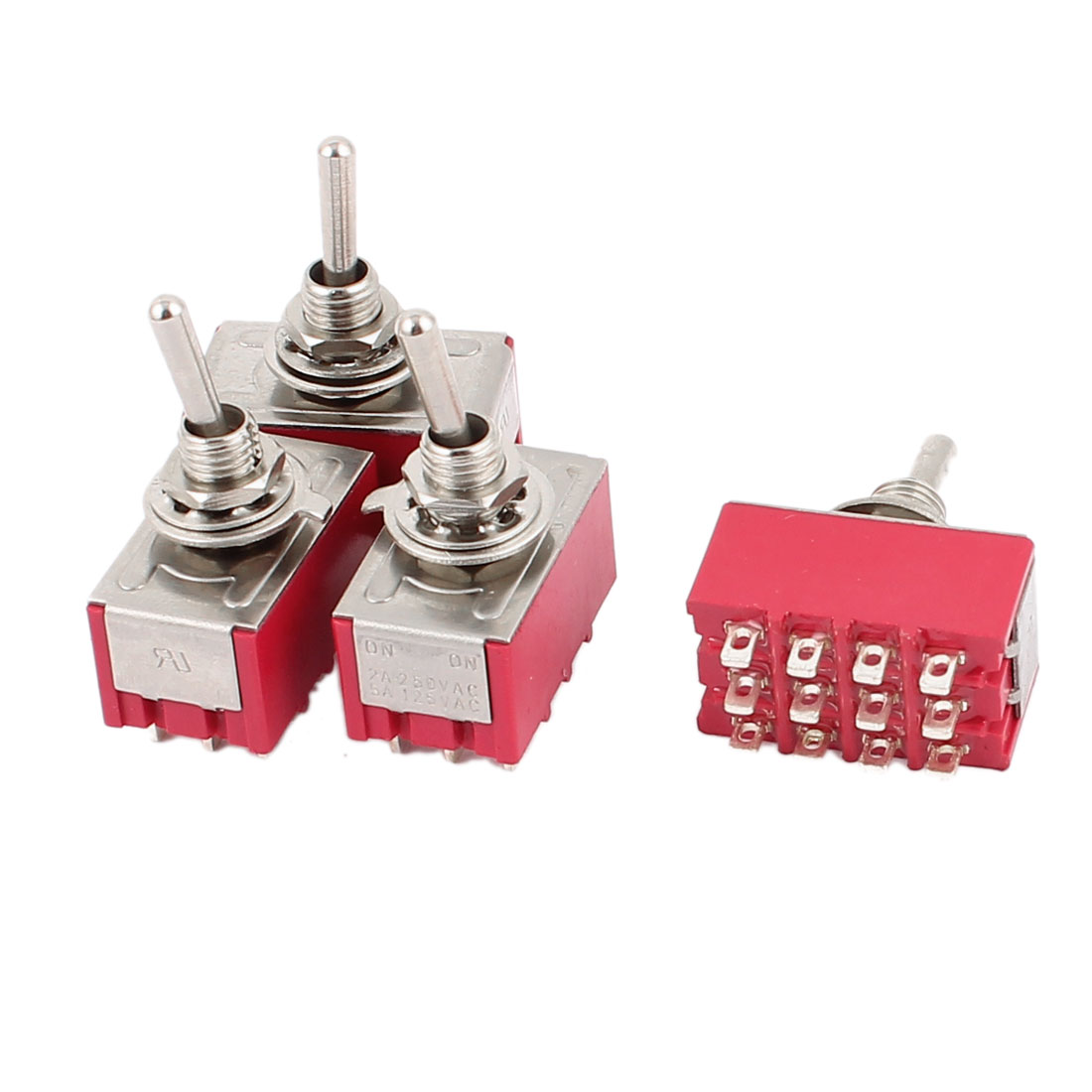 AC 250V/2A 125V/5A 12-Pin On/On 2 Position SPDT Toggle Switch 4 Pcs Red