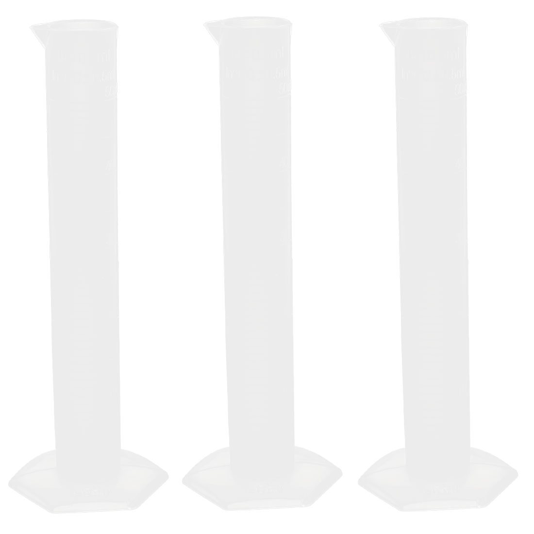 Laboratory Test 50ml Clear White Plastic Graduated Cylinder Measuring Cup 3 Pcs