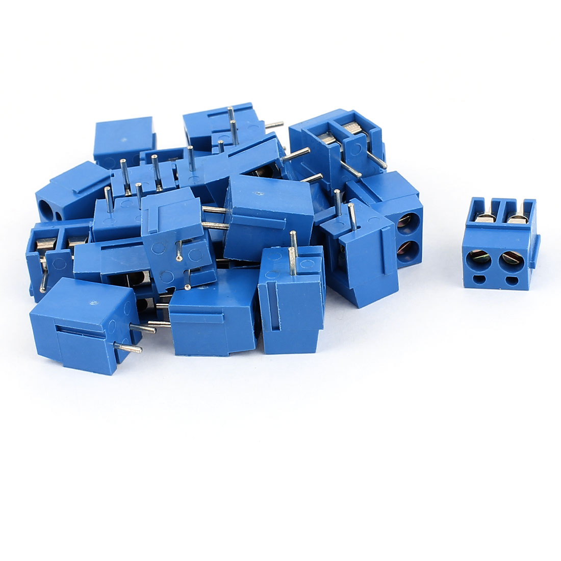 25 Pcs KF300 16A 300V 2 Terminals 5mm Pitch AWG14-22 PCB Mount Terminal Block Blue