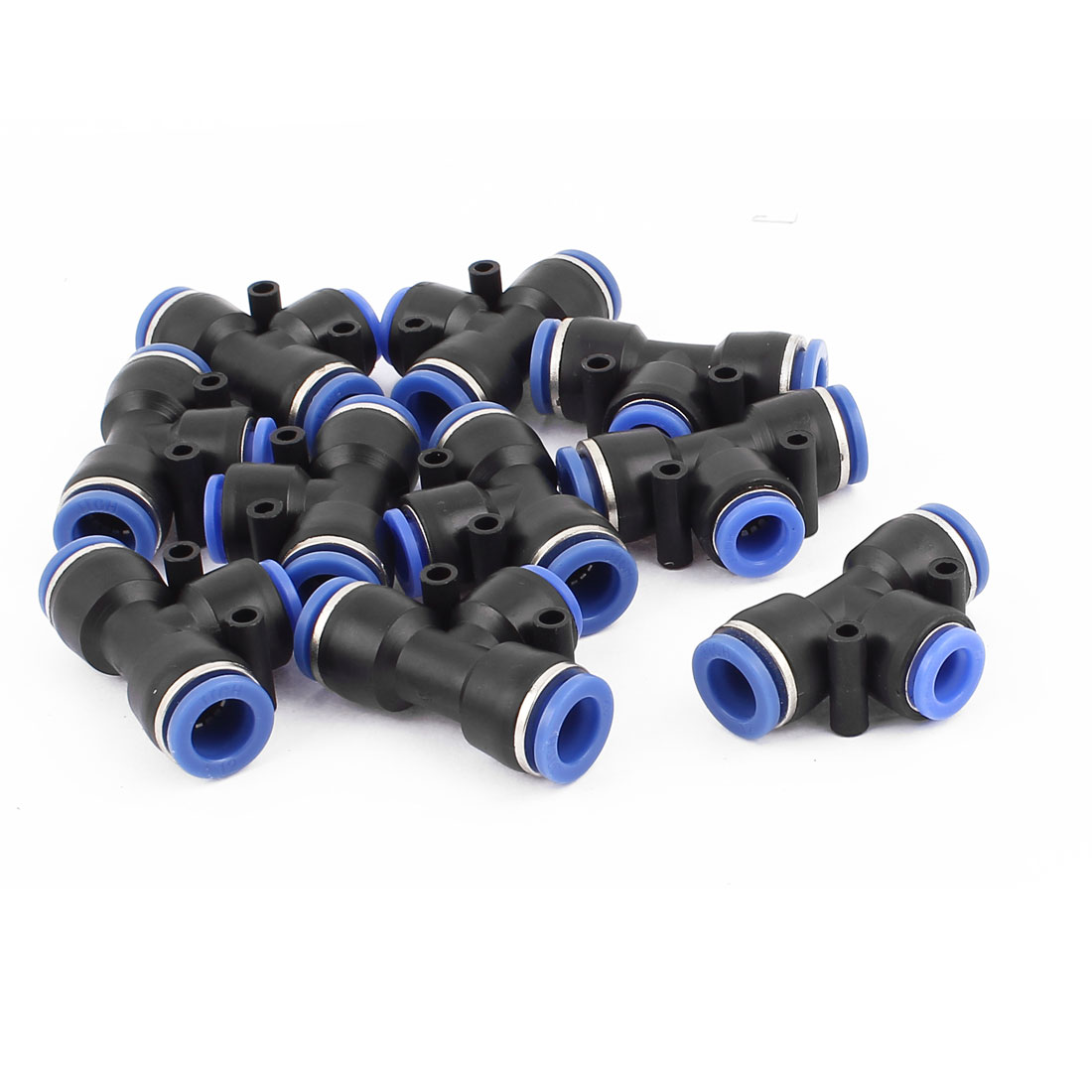 10 Pcs 3 Ways 12mm to 10mm T Shape Air Pneumatic Quick Joint Fittings
