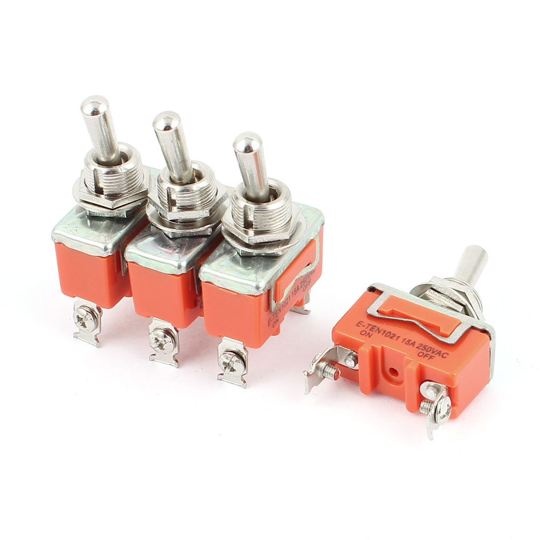 AC 250V 15A 2 Screw Terminals ON-OFF 2 Position SPST Toggle Switch 4 Pcs
