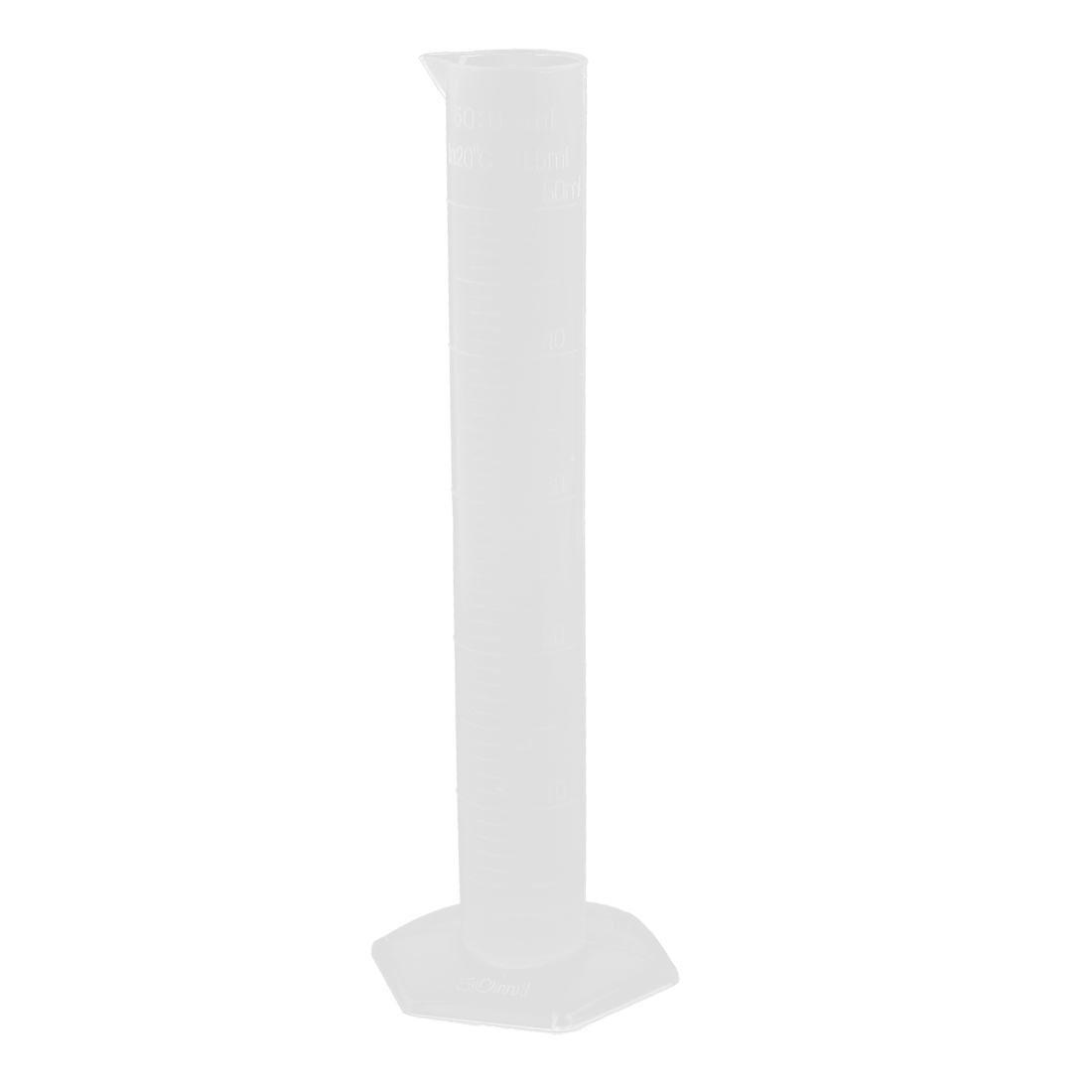 Laboratory Test 50ml Clear White Plastic Graduated Cylinder Measuring Beaker Cup