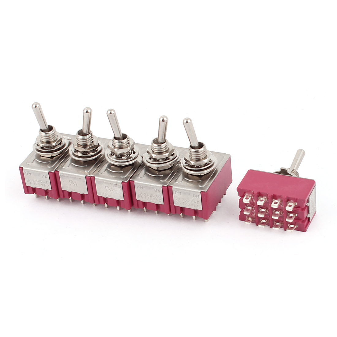 AC 250V/2A 125V/5A 12-Pin On/On 2 Position Miniature SPDT Toggle Switch 6Pcs Red