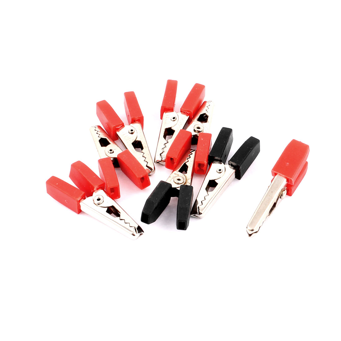 8 Pcs Insulated Finger Grip Crocodile Clips Black Red for Car Battery Test