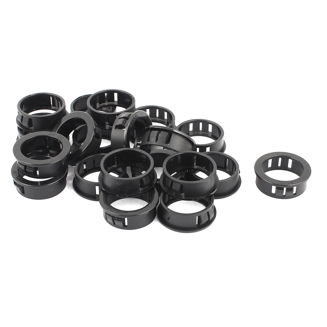 30mm Black Plastic Cable Hose Snap Locking Bushing Protective Grommet 20 Pcs