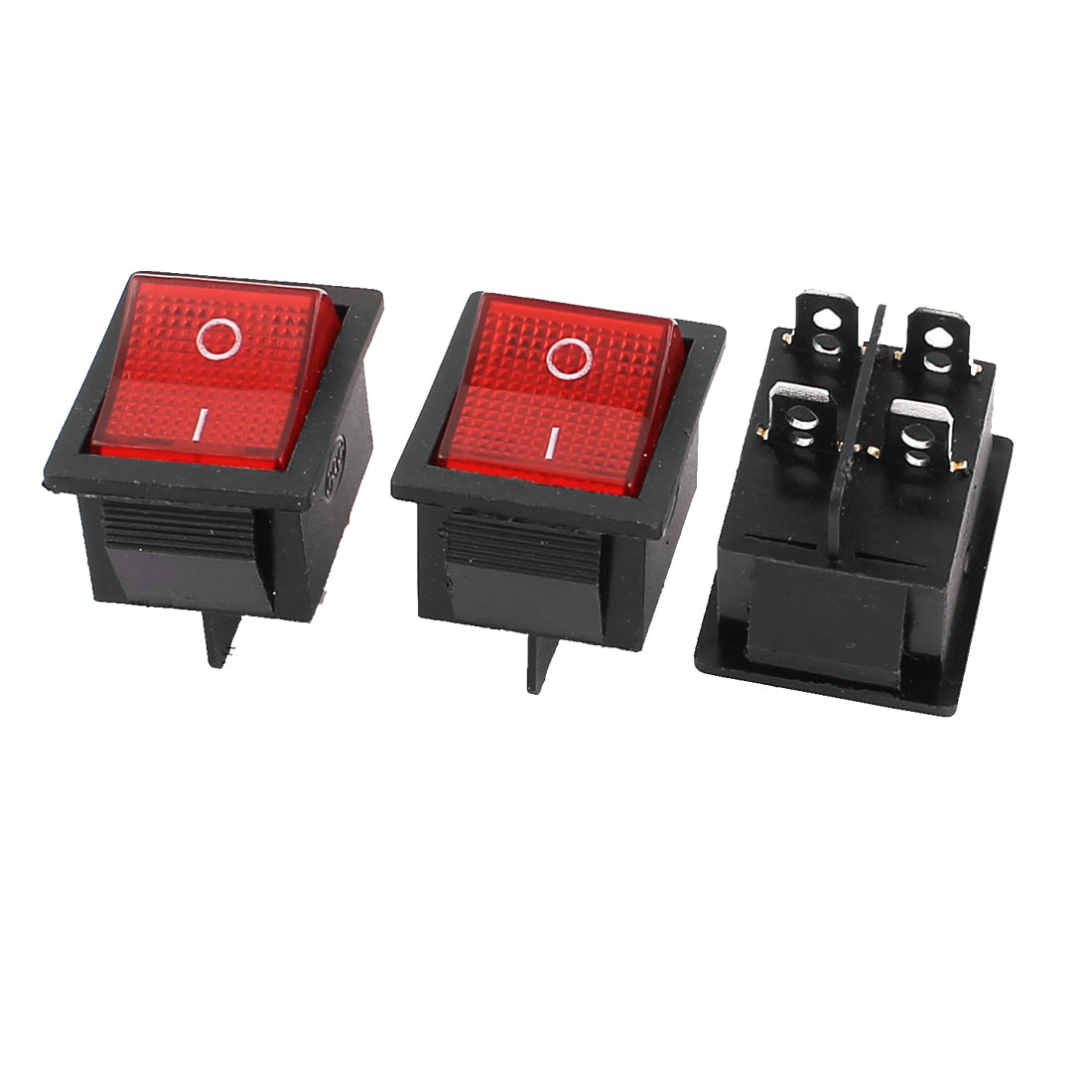 3Pcs 15A 250V/20A 125V AC 4 Pin DPST ON/OFF Snap in Boat Rocker Switch