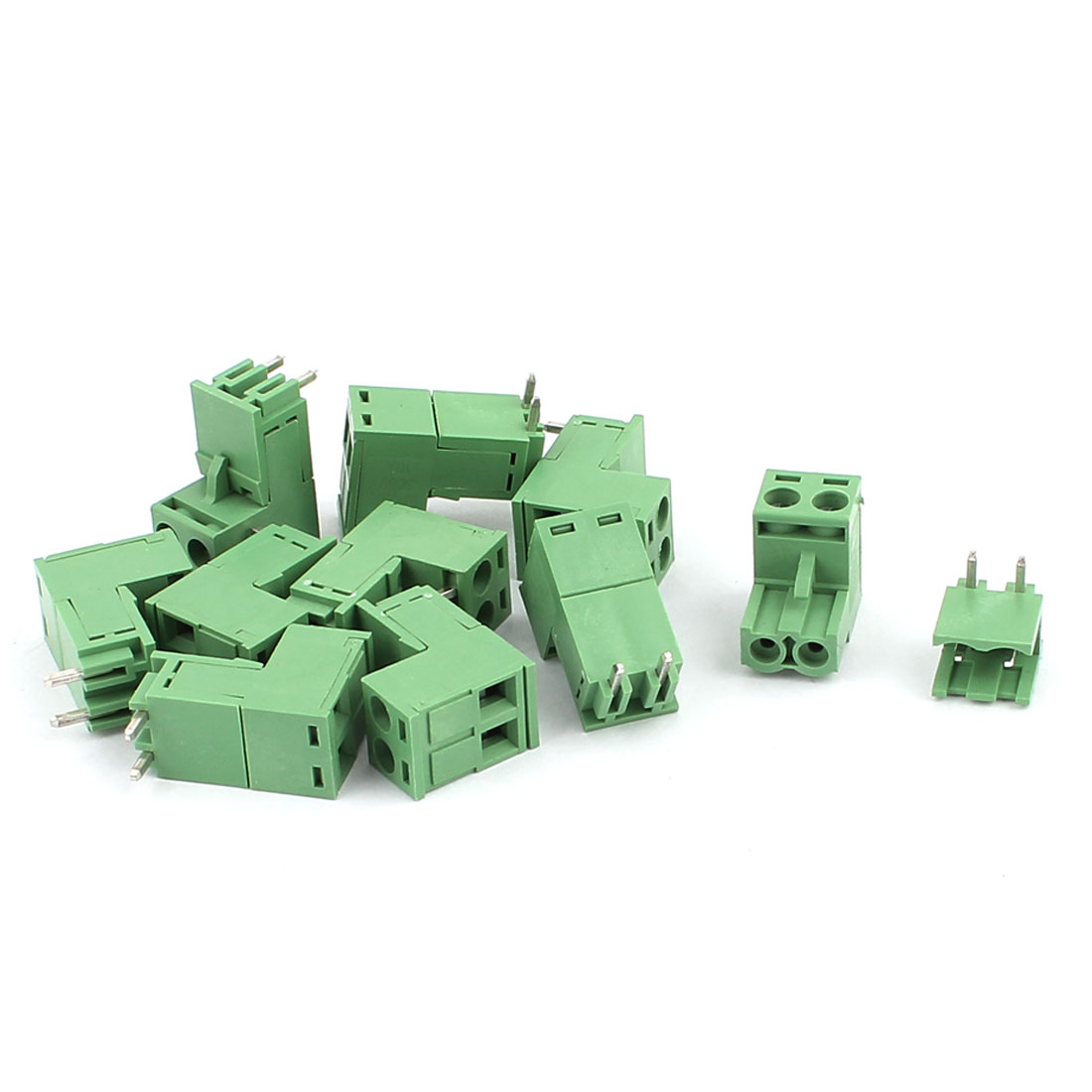 10Pcs AC 300V 10A 2P Pins PCB Screw Terminal Block Connector 5.08mm Pitch Green