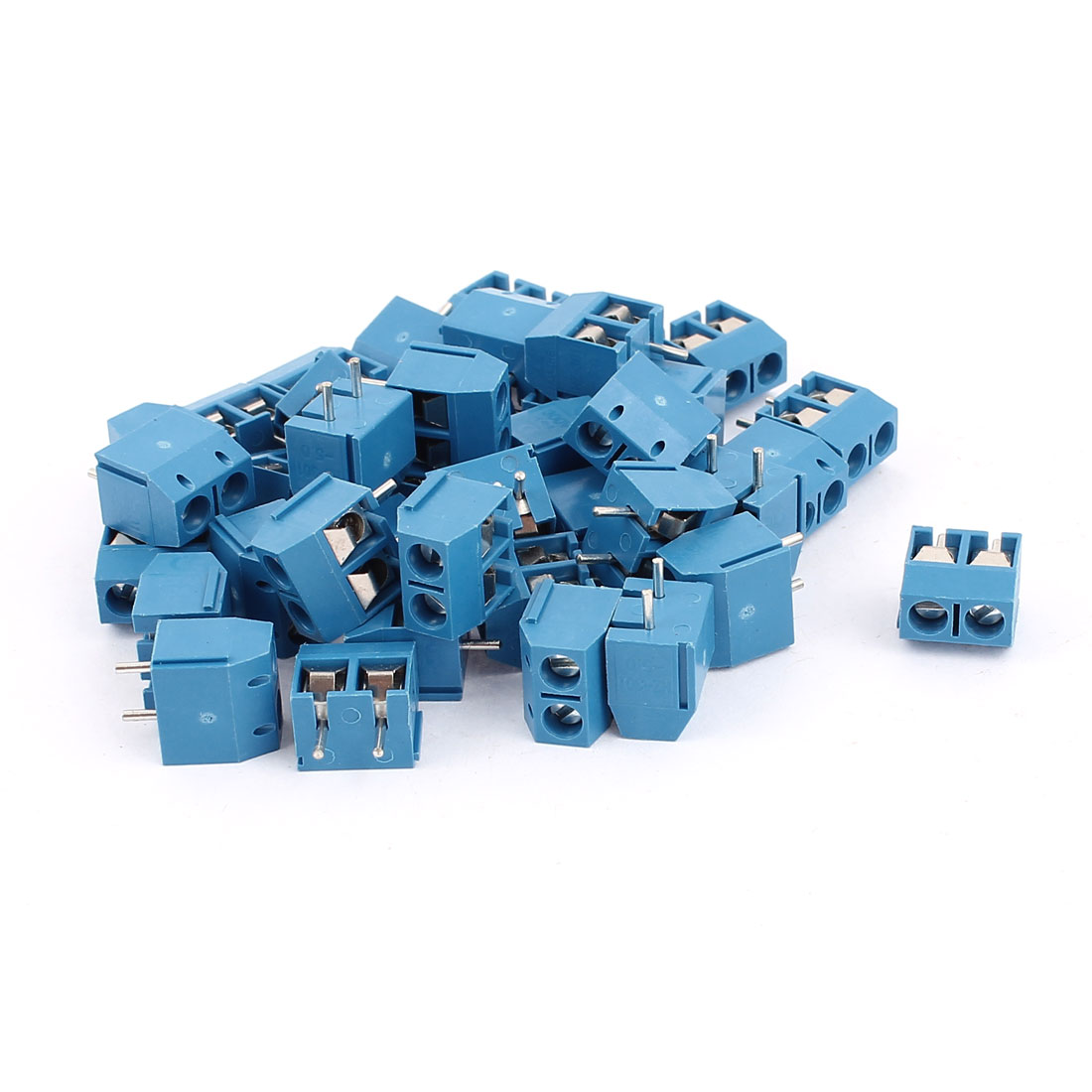 40Pcs AC 300V 10A HZ301-5.0 2 Pins 5mm Pinch PCB Mounting Screw Terminal Block Connector