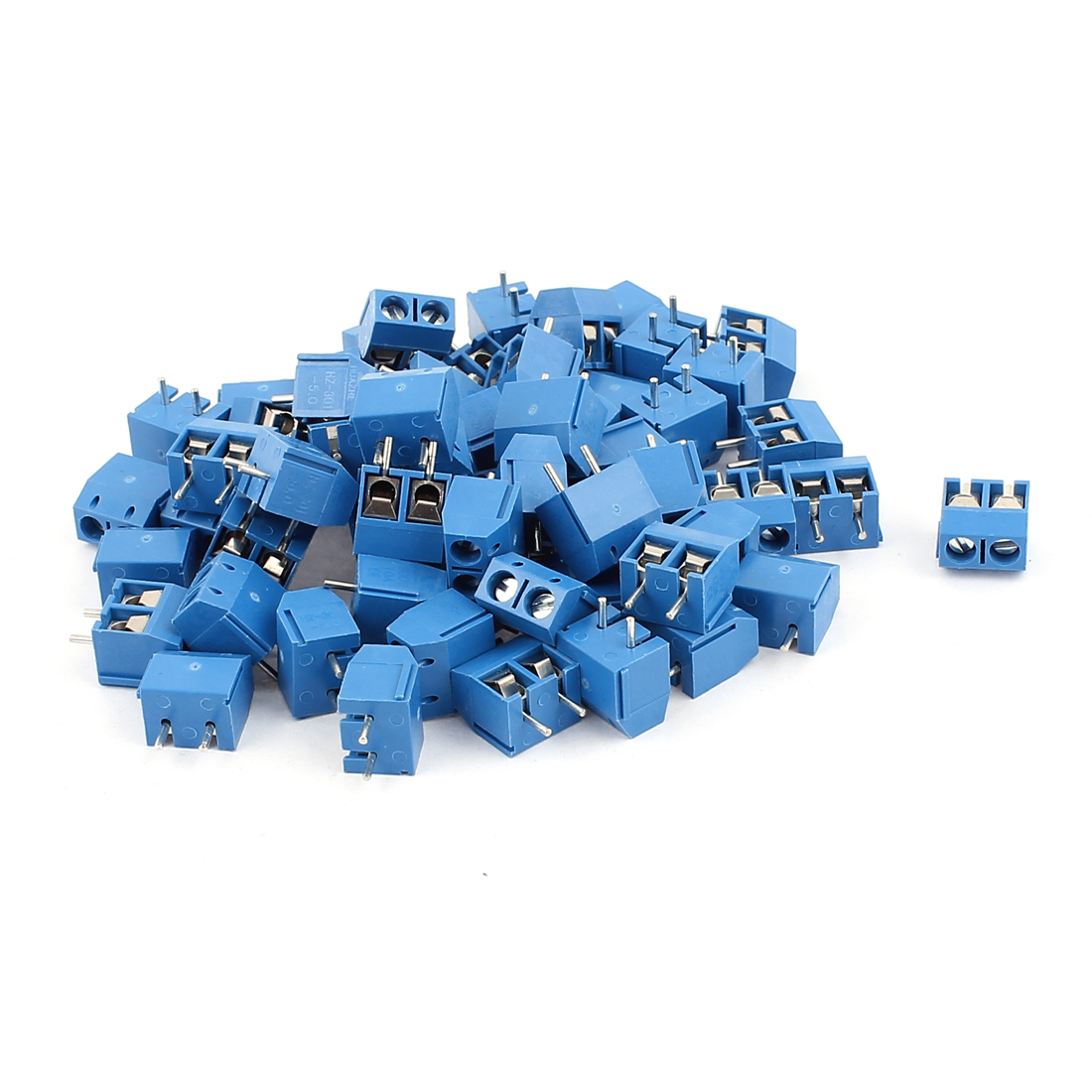 60pcs Straight 5mm Pitch Spacing PCB Board Mount Type Screw Terminal Blocks Connectors Blue