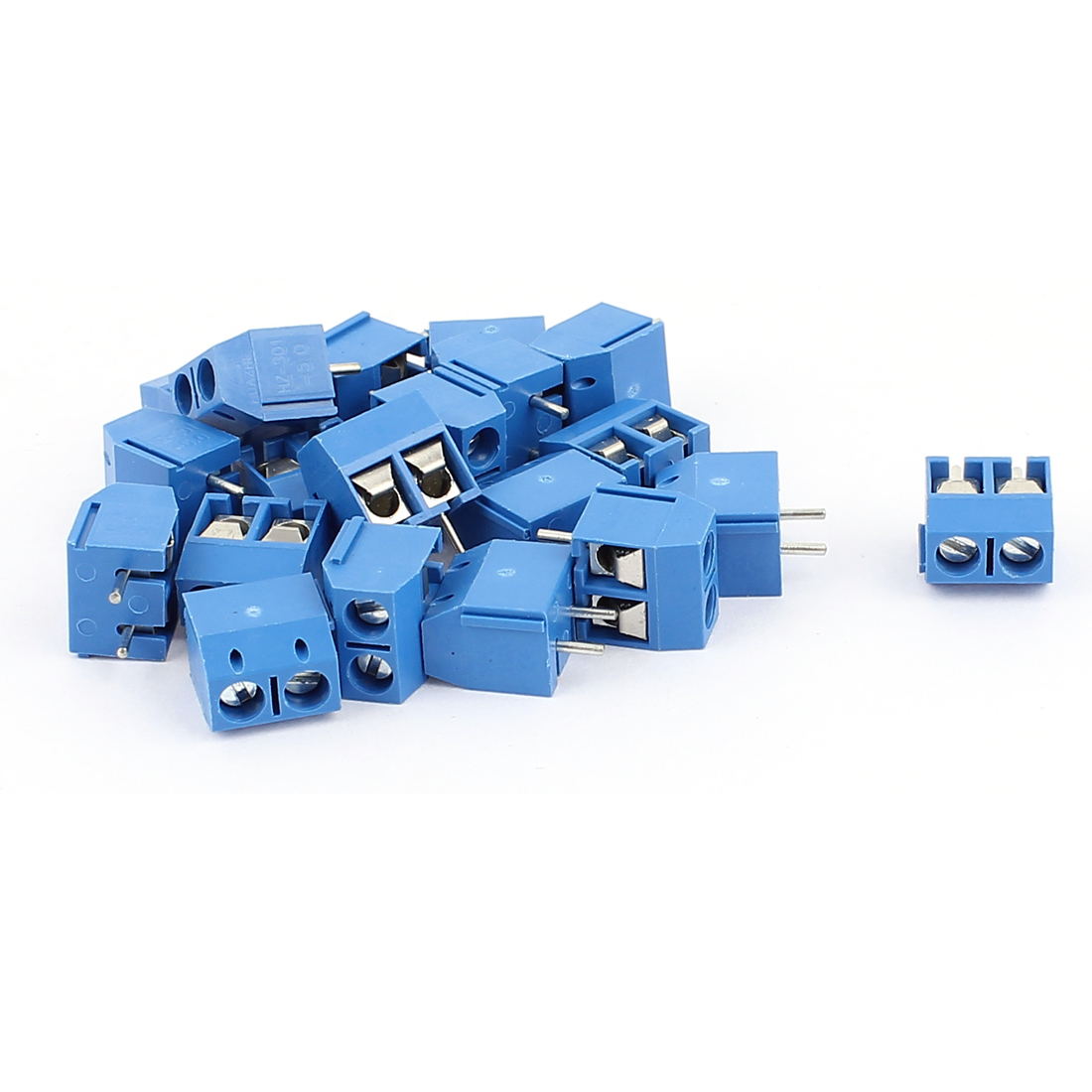 20Pcs AC 300V 10A HZ301-5.0 2 Pins 5mm Pinch PCB Mounting Screw Terminal Block Connector