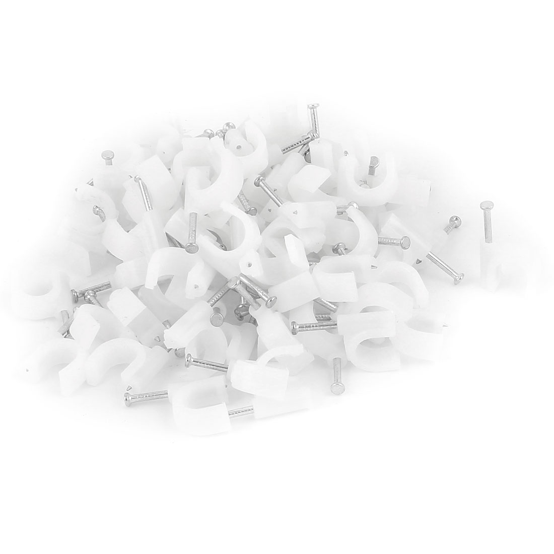 90Pcs 2mm Plastic Circle Electric Cable Nail Clips White