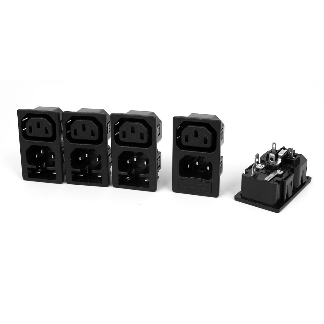 5 Pcs AC250V 10A WD-201 1 Male 1 Female Snap-In IEC Connector Power Socket