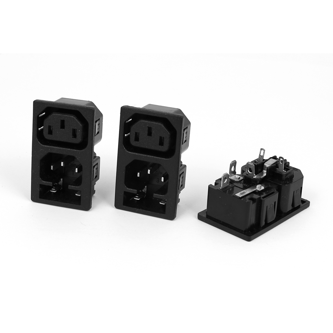 3 Pcs AC250V 10A WD-201 1 Male 1 Female Snap-In IEC Connector Power Socket