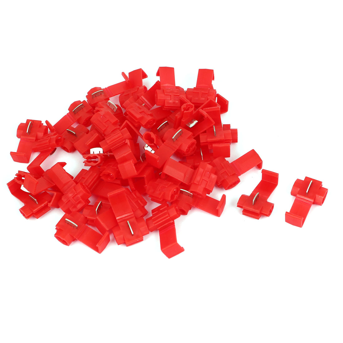 45 Pcs Red Plastic 2 Holes Regulable Wire Installation Cord Cable Clip Holder