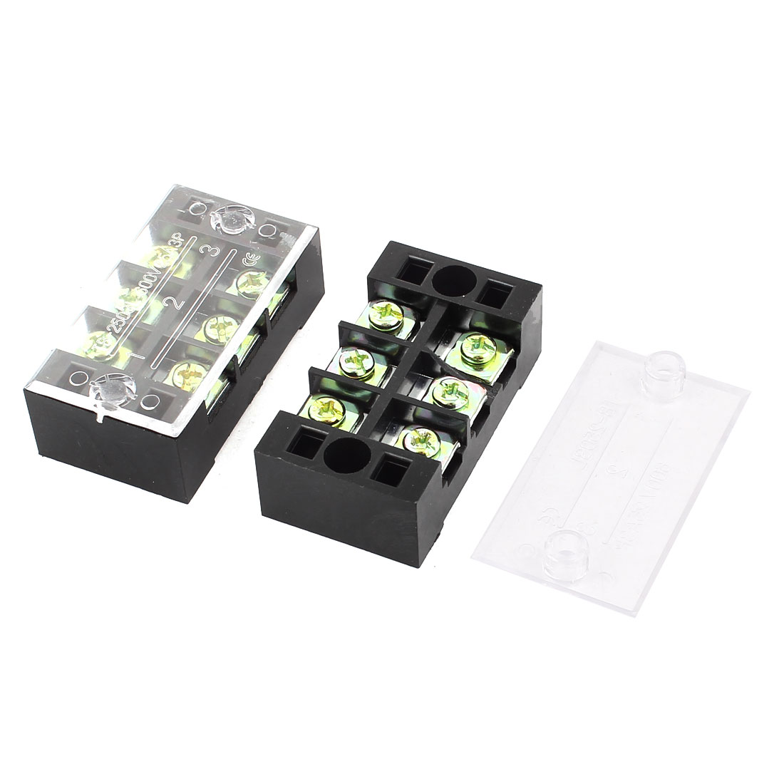 600V 25A 3 Position Dual Row 6 Screw Electric Terminal Barrier Strip Block 2 Pcs