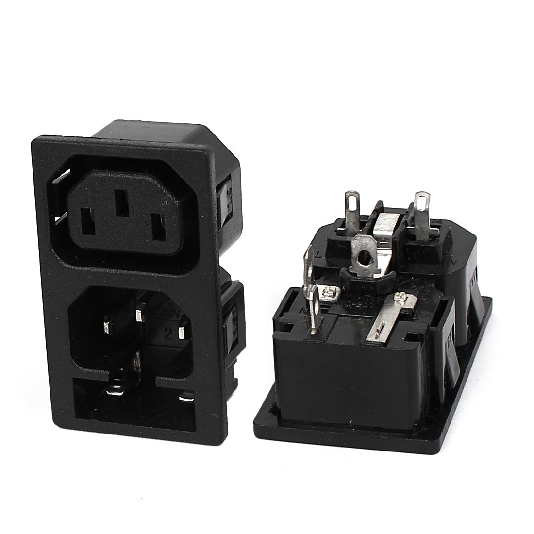 2Pcs AC250V 10A WD-201 1 Male 1 Female Snap-In IEC Connector Power Socket