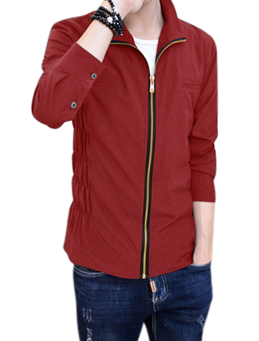 Men Stand Collar Zip Up Smocked Sides Slim Fit Jacket Red M