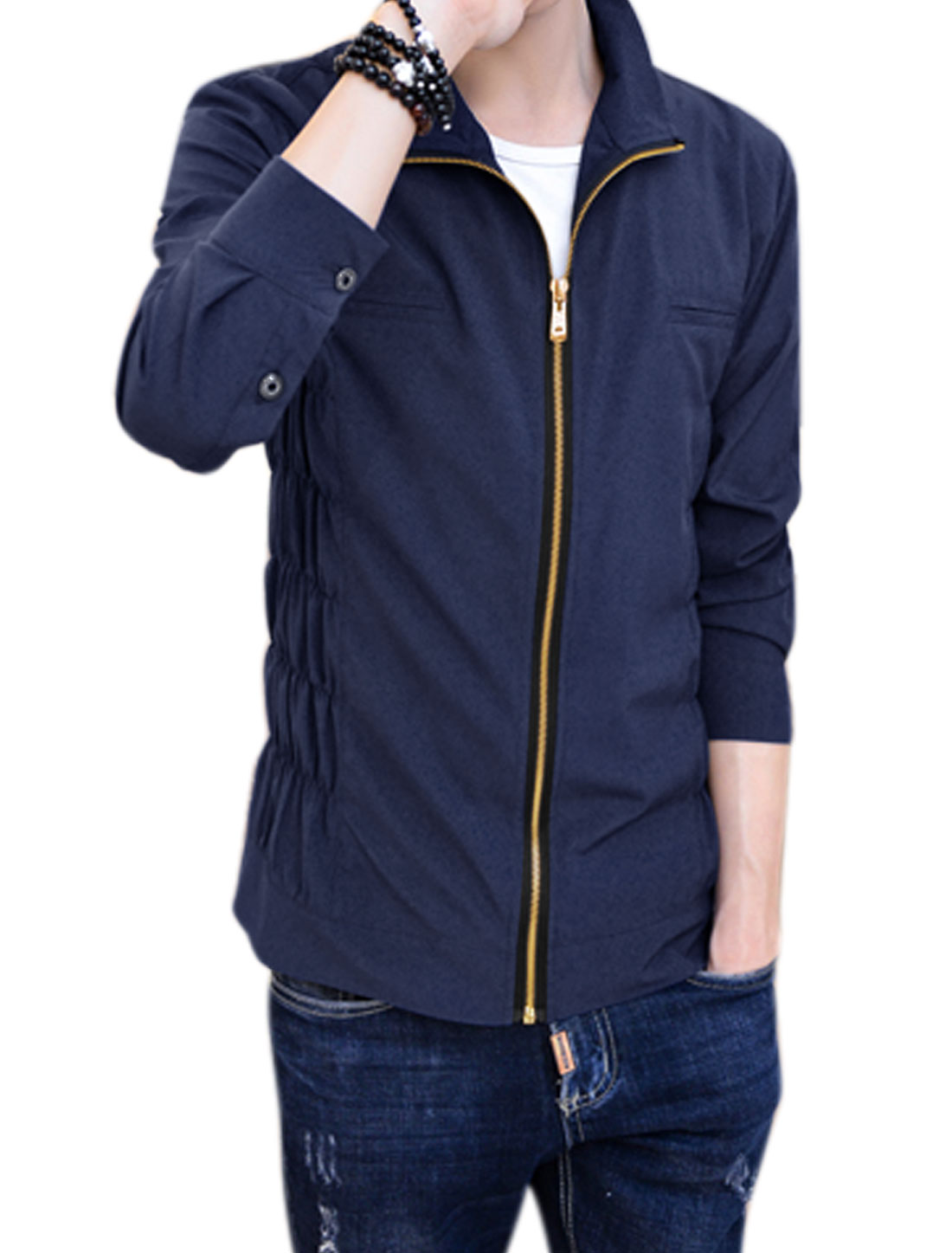 Men Zip Closure Smocked Design Slim Fit Casual Jacket Blue M