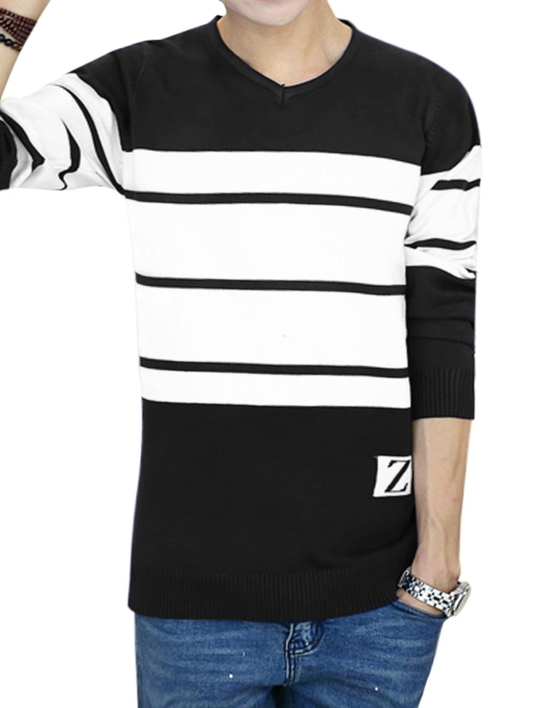 Men V Neck Long Sleeves Color Block Stripes Jumper Black M