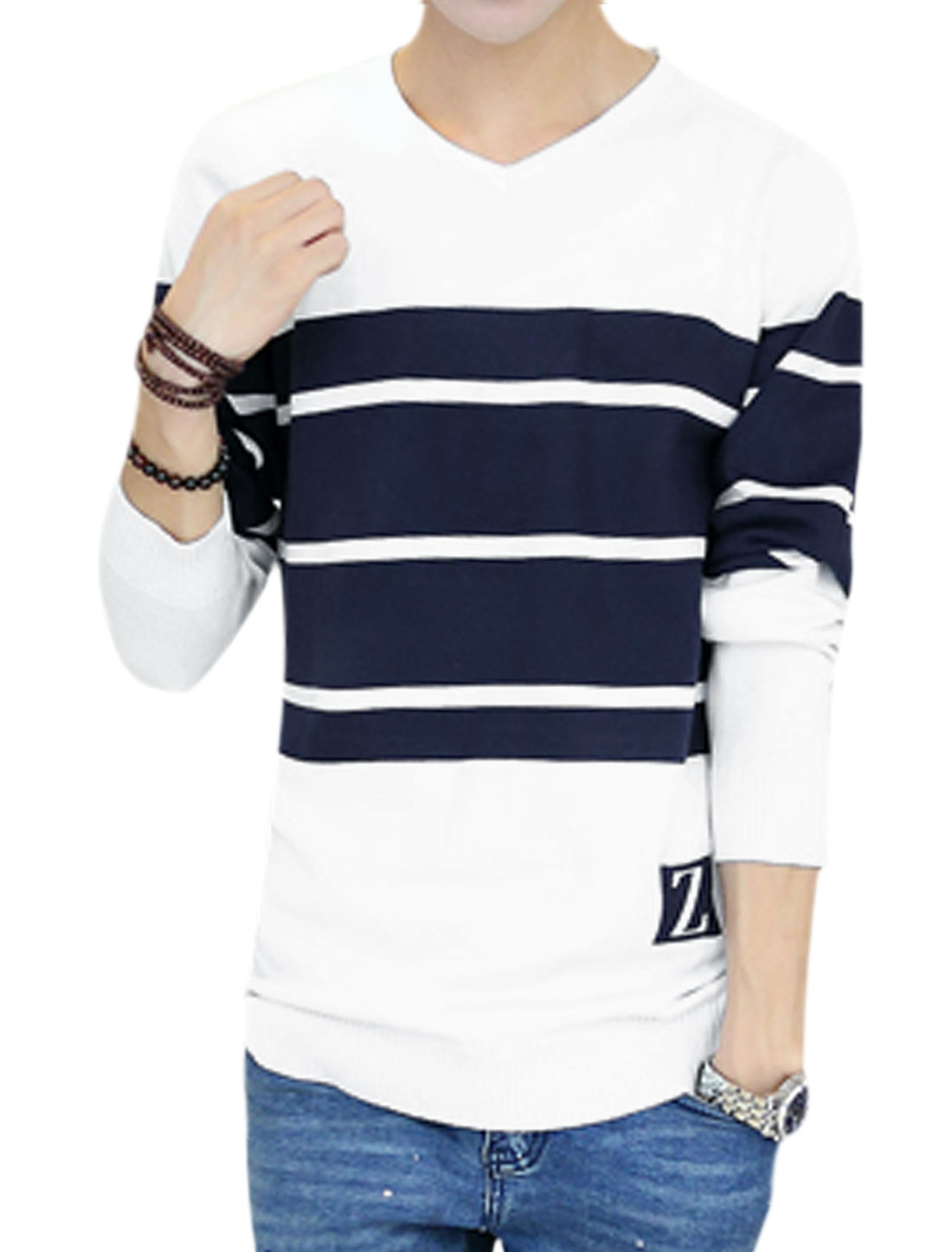 Men V Neck Stripes Letter Pattern Detail Knit Shirt White M