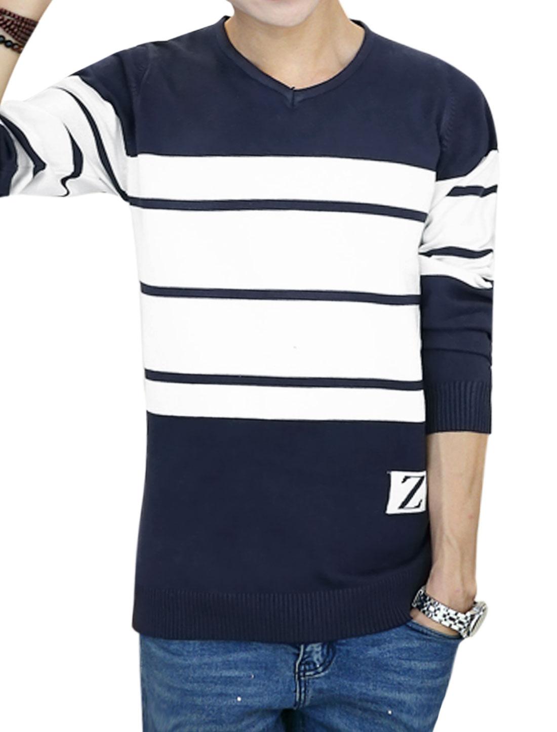 Men V Neck Color Block Stripes Slim Fit Knit Shirt Blue M