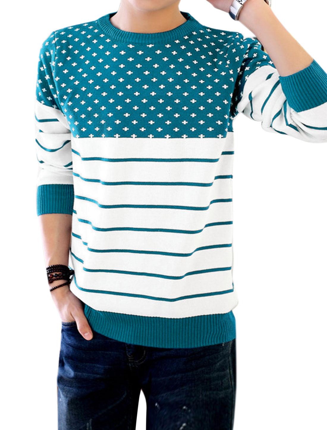Men Crew Neck Contrast Color Stripes Cross Pattern Knit Shirt Blue M