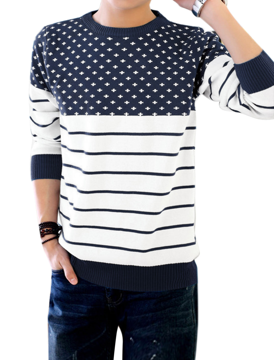 Men Crew Neck Striped Cross Pattern Pullover Color Block Knit Shirt Navy Blue M