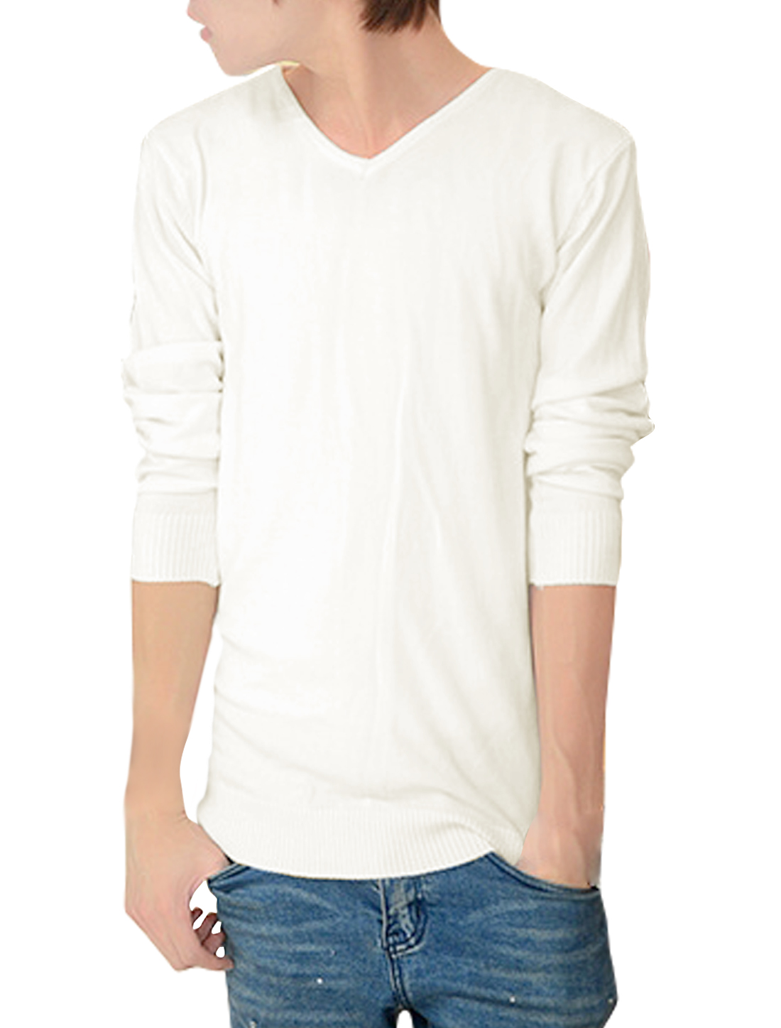 Men V Neck Long Sleeves Pullover Casual Knit Shirt White M