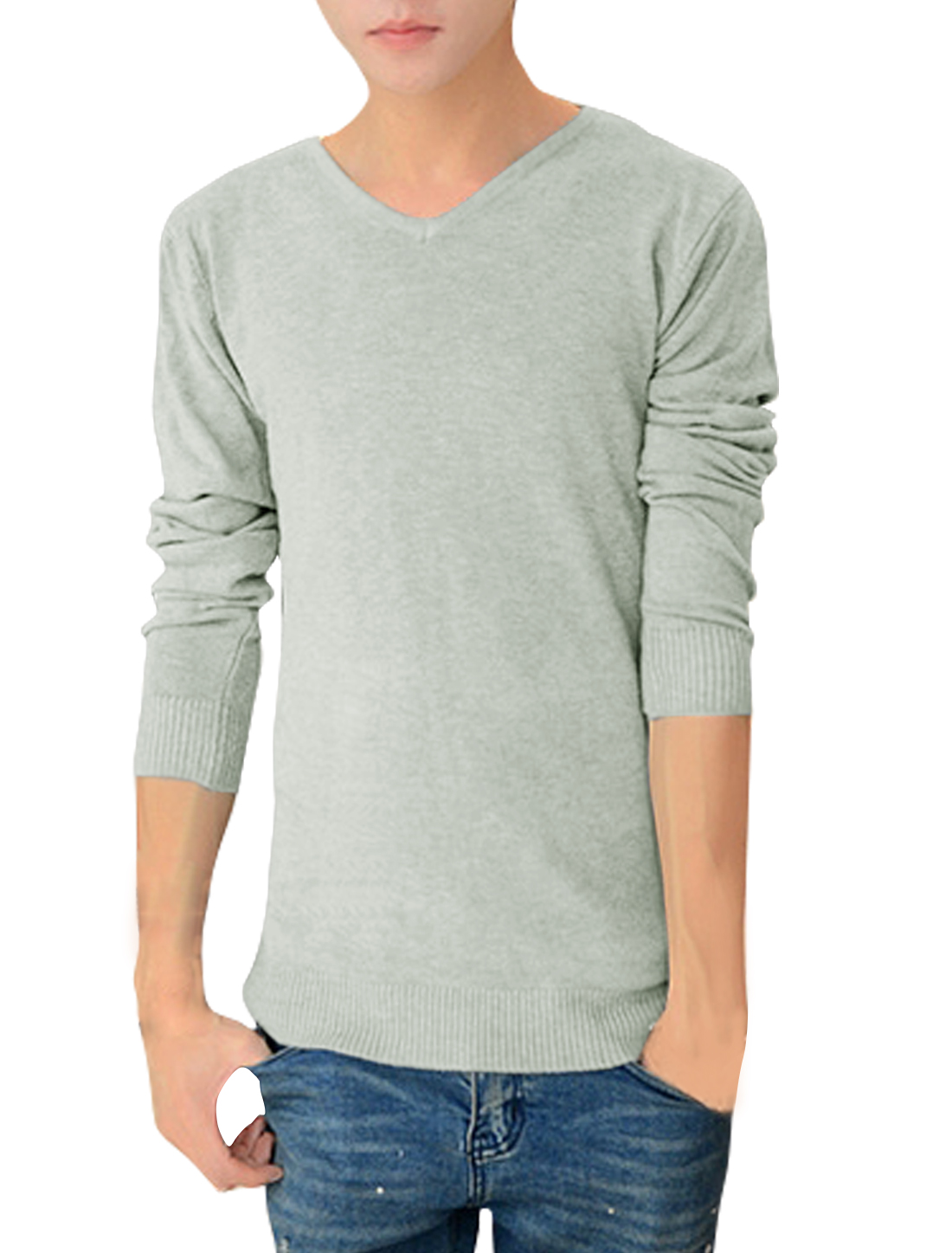 Men V Neck Long Sleeves Ribbed Trim Leisure Knit Shirt Gray M