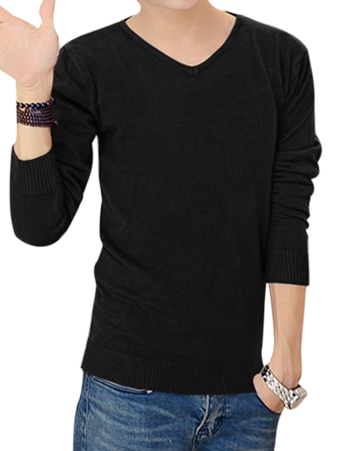 Men V Neckline Pullover Long Sleeves Slim Fit Knit Shirt Black M