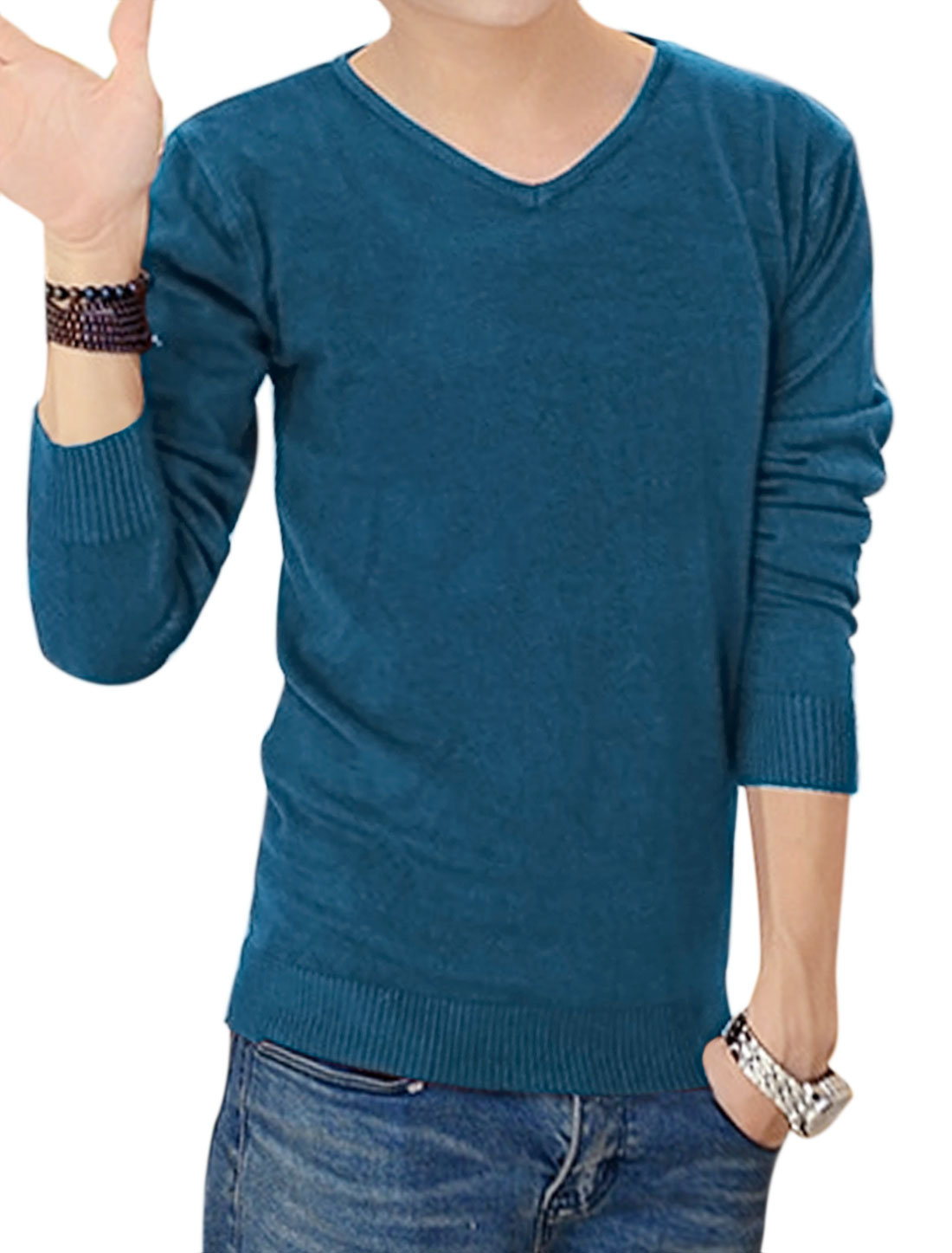 Men Long Sleeves Pullover Slim Fit V Neck Knit Shirt Blue M
