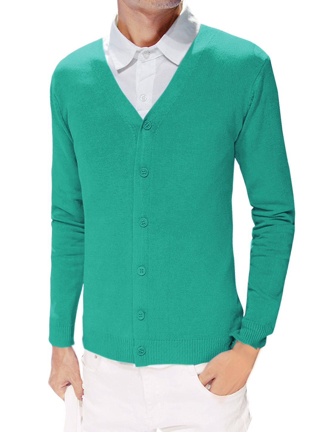 Men Long Sleeves V Neck Single Breasted Slim Fit Knit Cardigan Green S