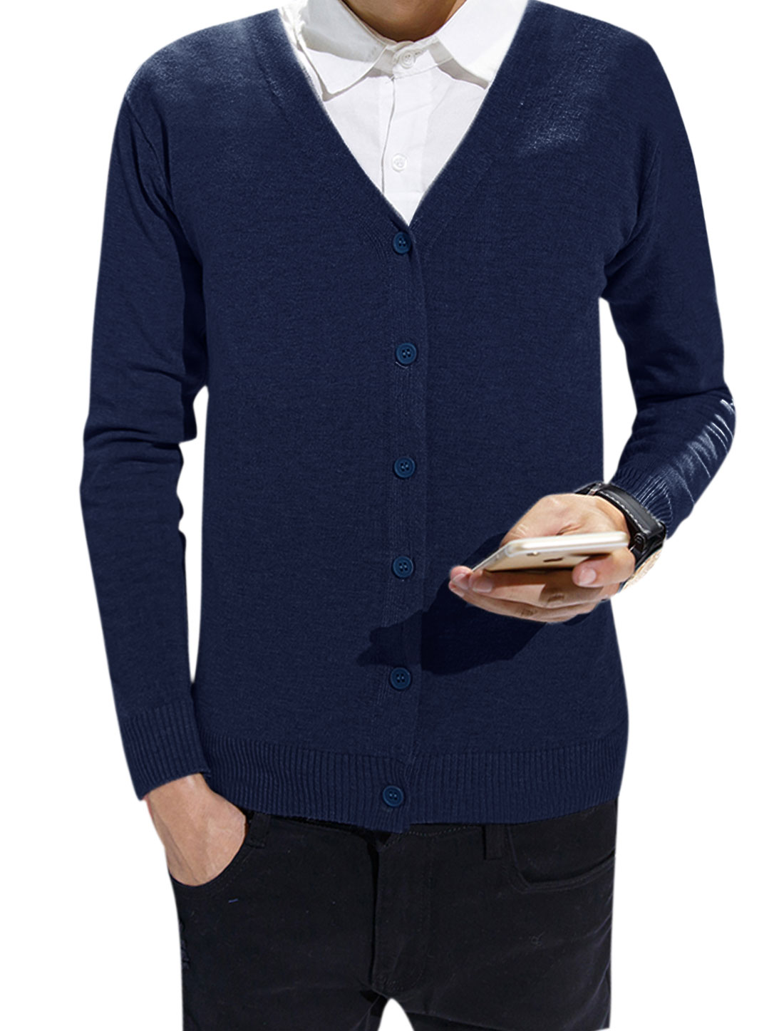 Men V Neck Long Sleeves Knitted Slim Fit Buttoned Cardigan Navy Blue S