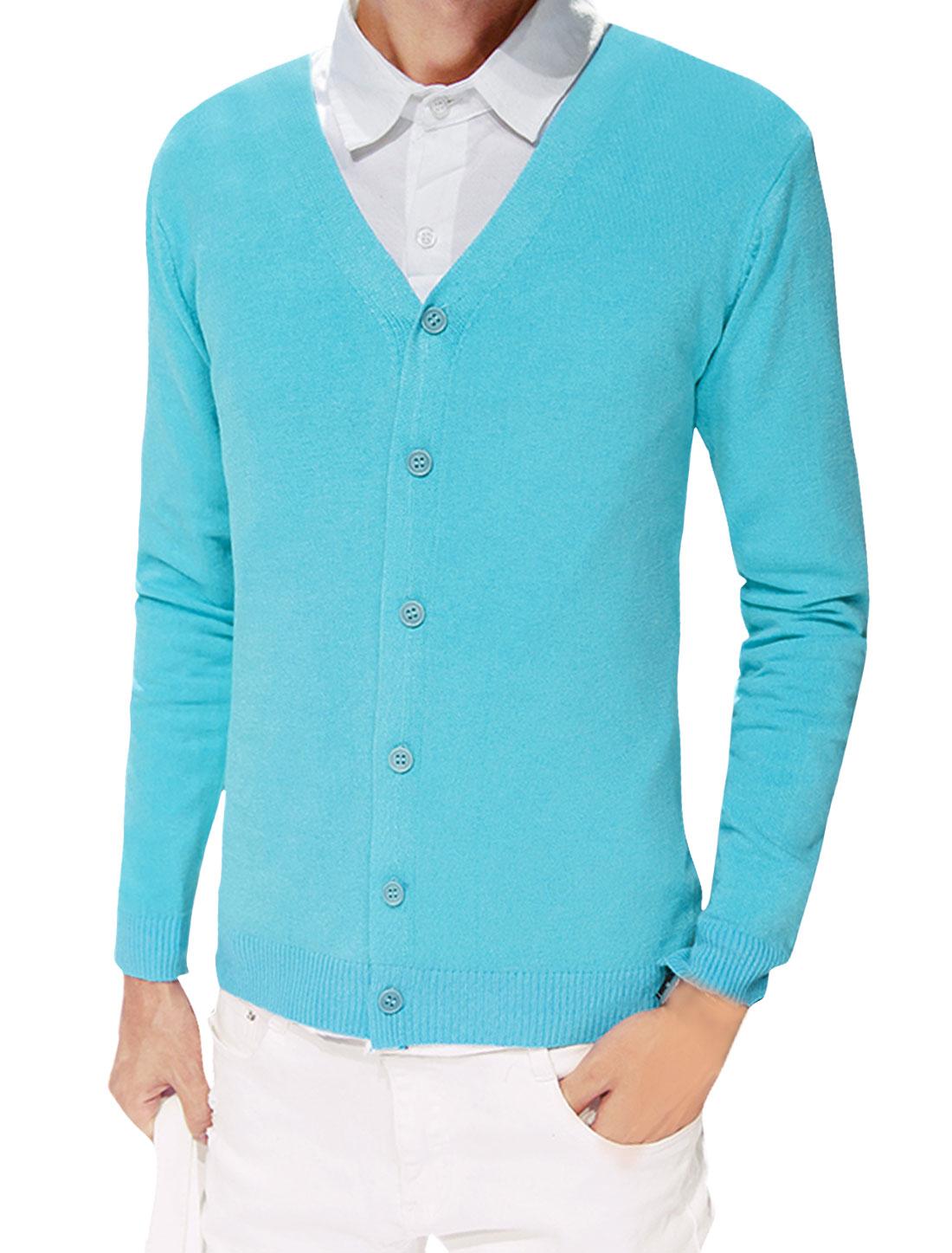 Men Button Closure Long Sleeves V Neck Slim Fit Knit Cardigan Aqua S