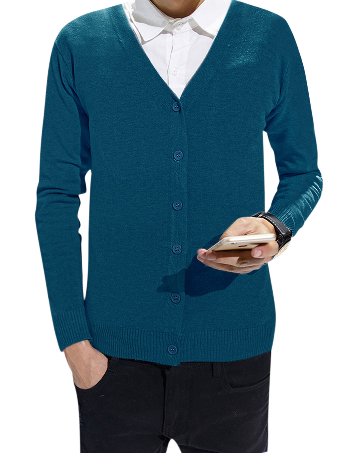 Men Long Sleeves V Neck Button Front Slim Fit Knit Cardigan Blue S