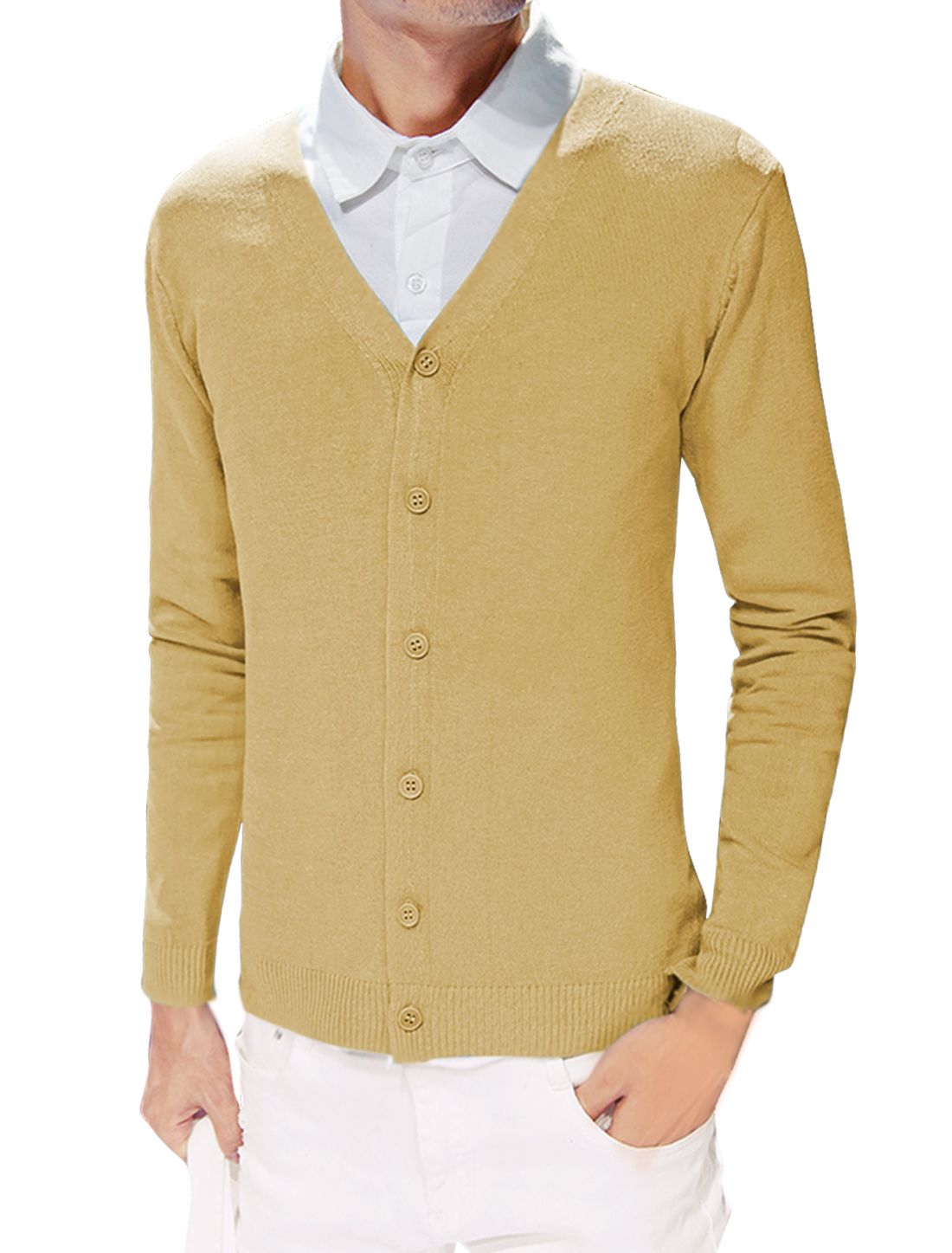 Men Slim Fit Knitted Button Closed Long Sleeves Cardigan Yellow S