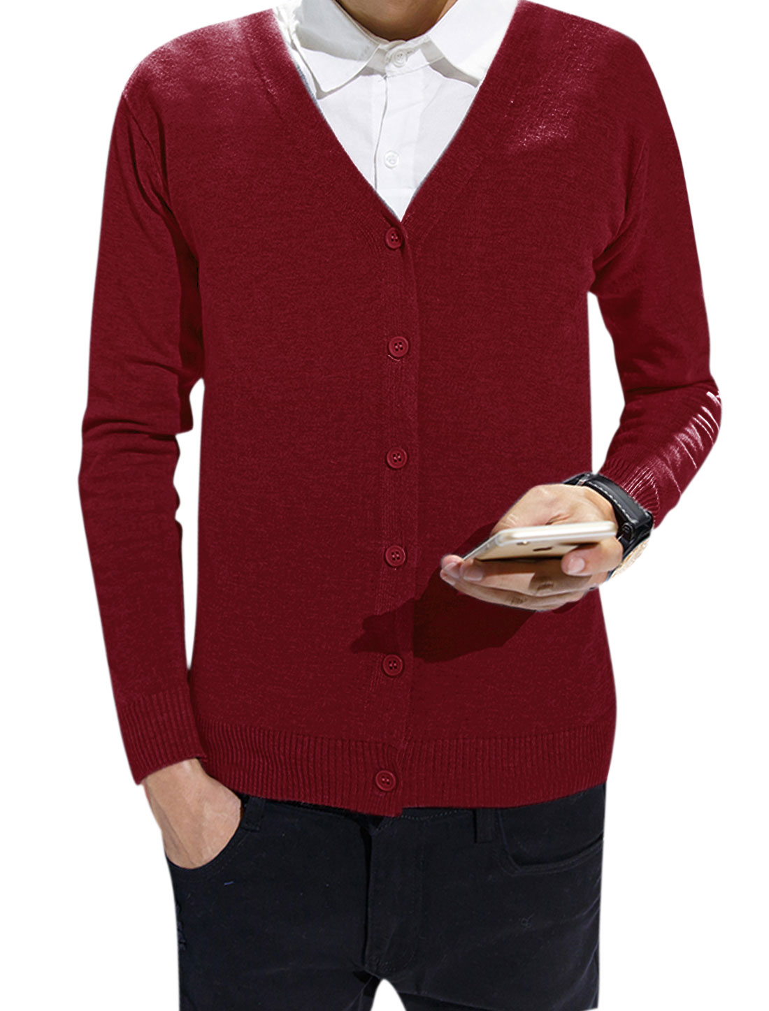 Men V Neck Single Breasted Long Sleeves Ribbed Trim Cardigan Red S