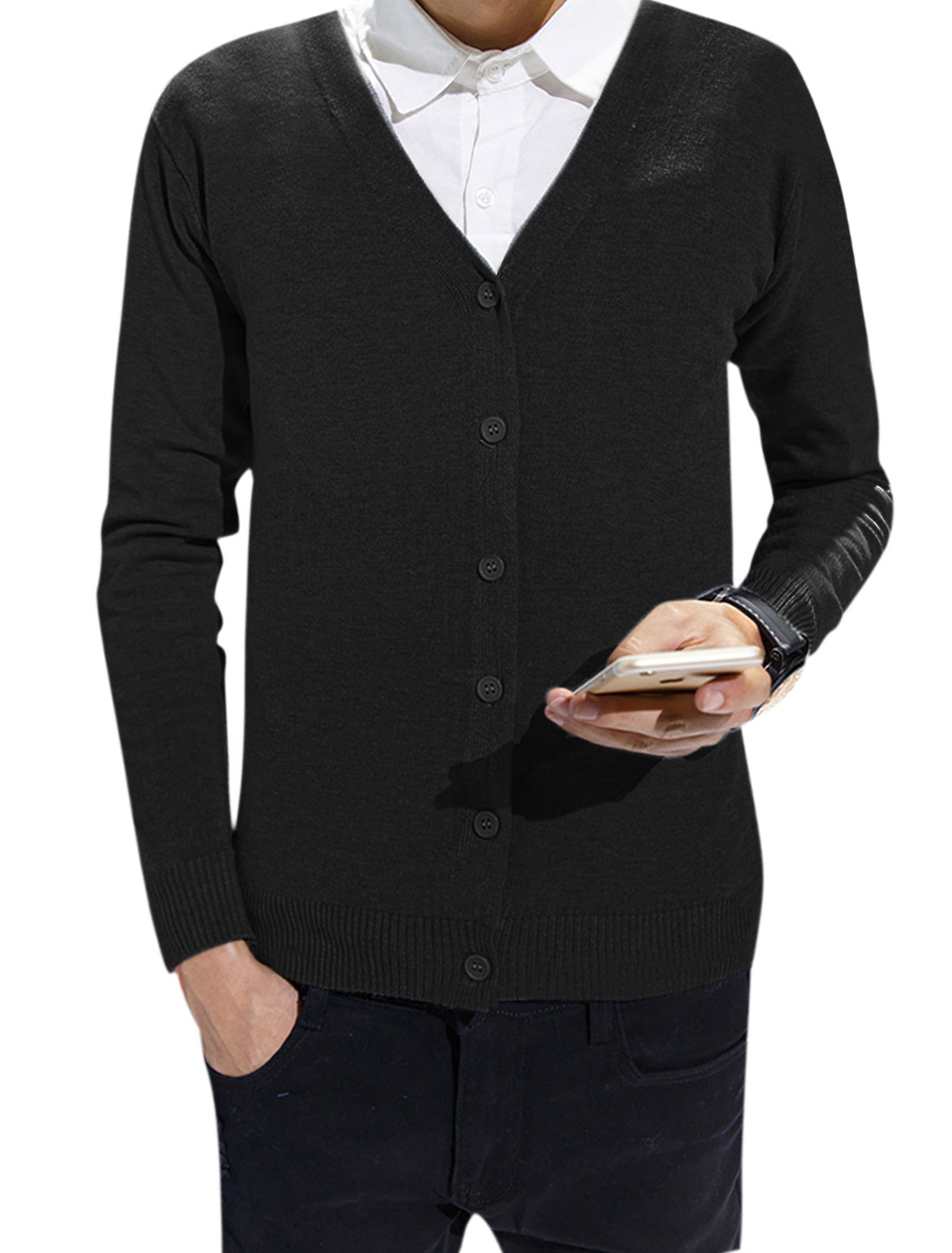 Men Knitted Long-sleeved Single Breasted Slim Fit Cardigan Black S