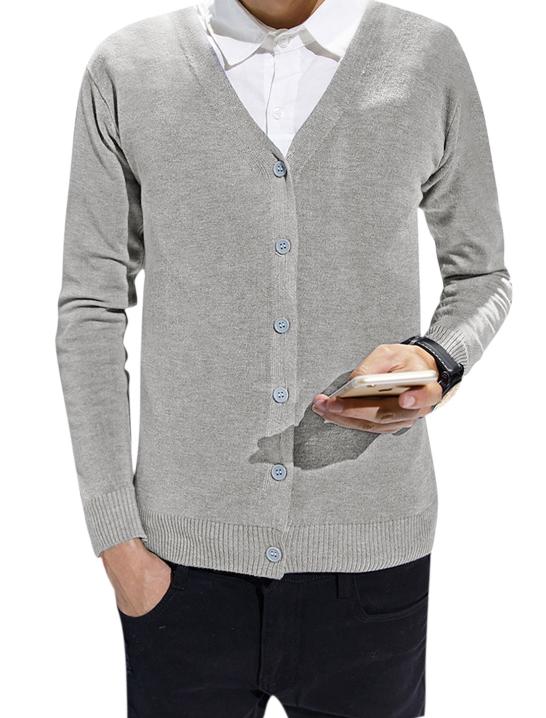 Men V Neck Long Sleeves Full Button Slim Fit Knit Cardigan Light Gray S
