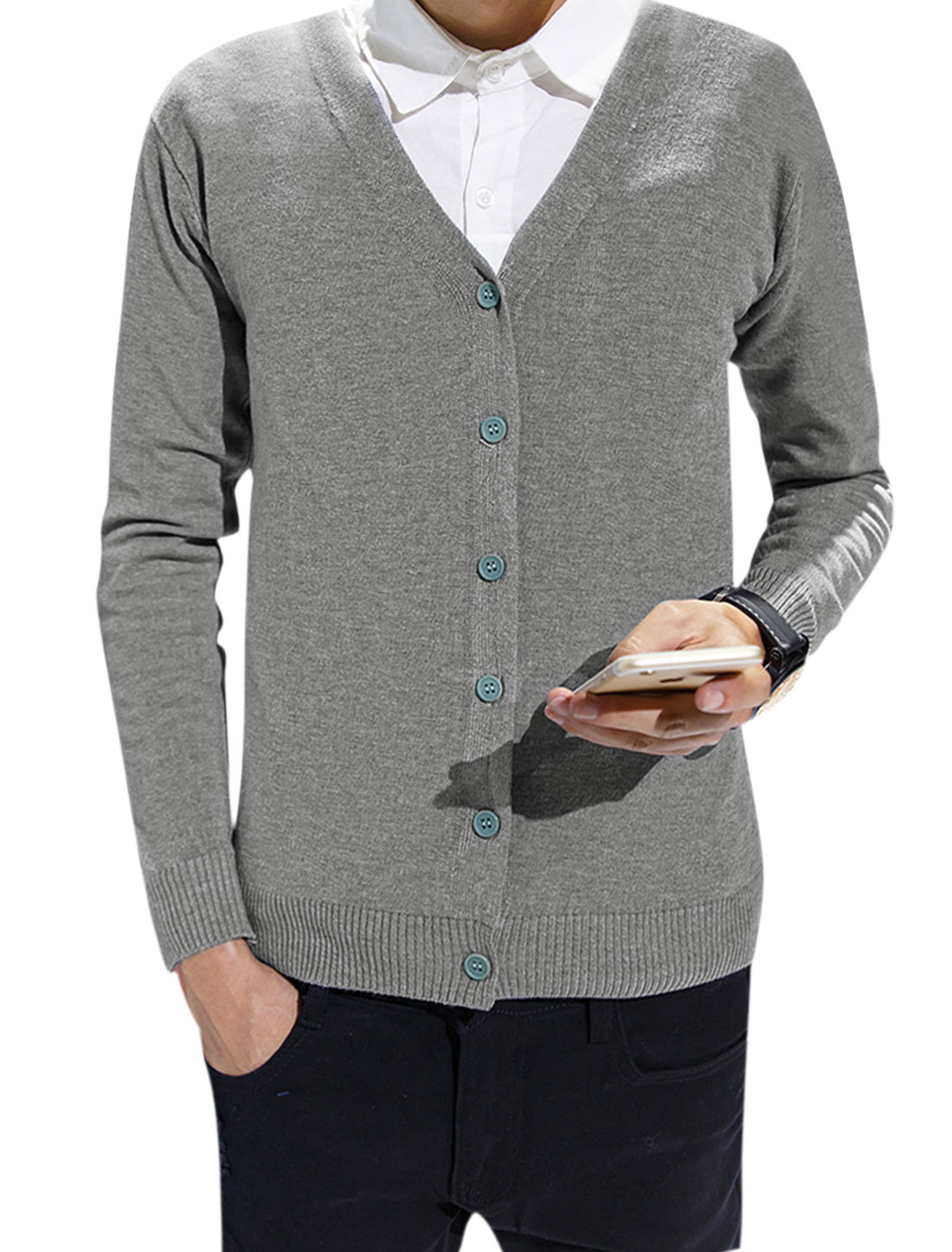 Men Long Sleeves Slim Fit V Neck Single Breasted Knitting Cardigan Gray S