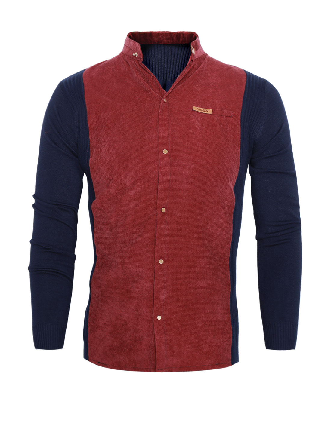 Men Color Block Long Sleeves Corduroy Panel Knit Shirt Red Blue S