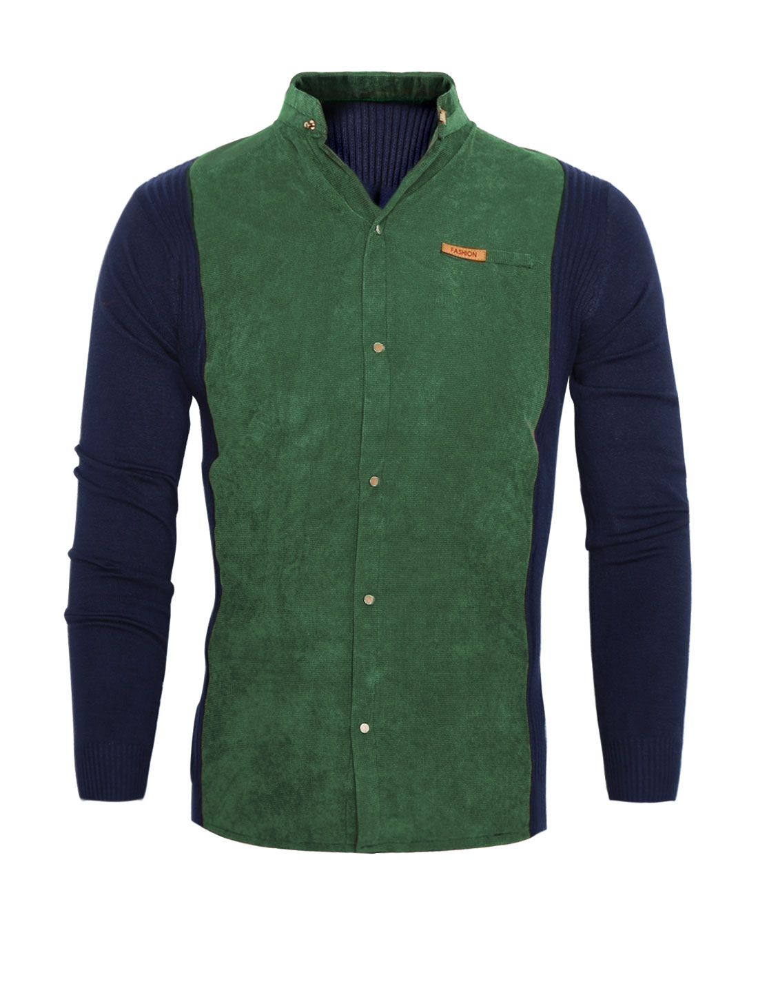 Men Stand Collar Long Sleeves Contrast Color Corduroy Panel Knit Shirt Green S