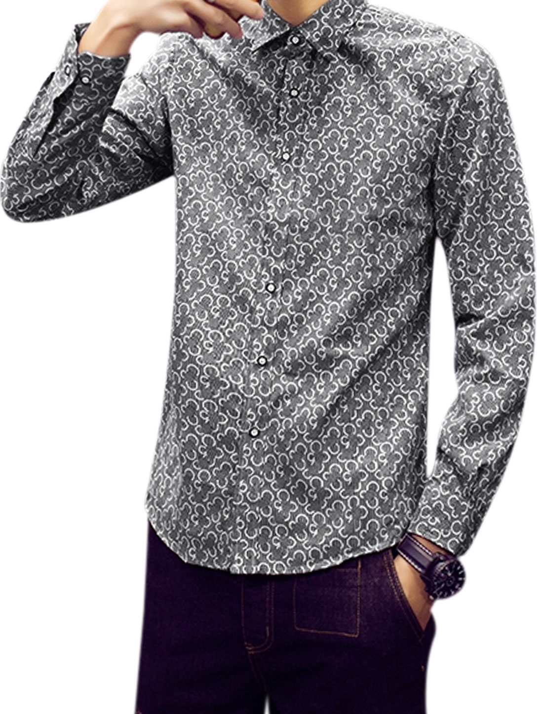 Men Long Sleeves Button Closed Novelty Pattern Shirts Gray M