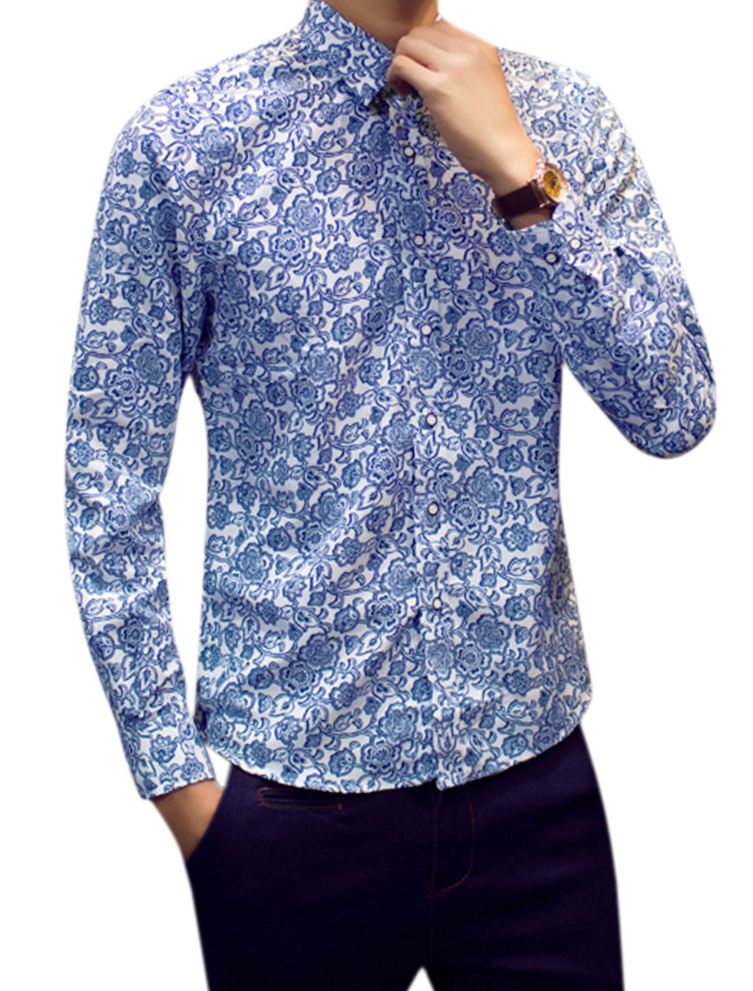 Men Point Collar Long Sleeves Flower Prints Shirts White M