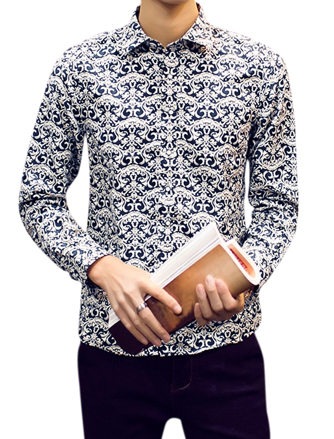 Men Long Sleeves Single Breasted Novelty Prints Shirts Blue M
