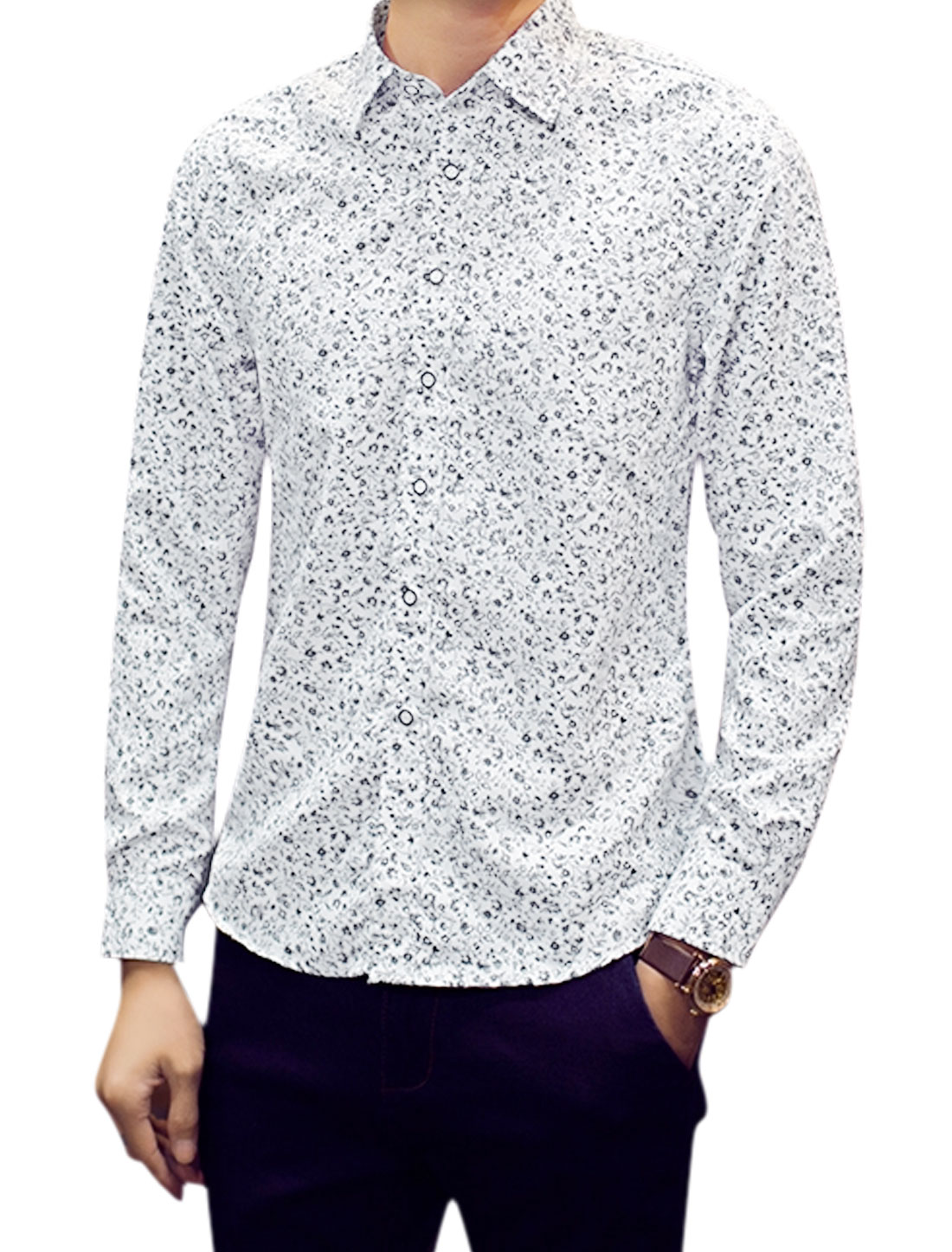 Men Point Collar Button Closed Floral Pattern Shirts White M